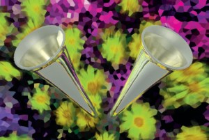 Two instrumental horns pointing outwards on the background of pixilated flowers.