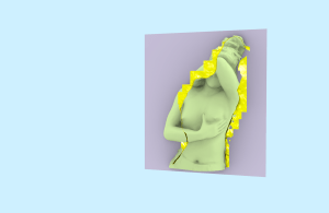 This image depicts the upper portion of a woman covering her face with her arm and holding her left breast against a lavender and blue background.