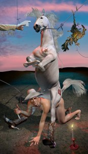 A horse riding a naked man wearing a cowboy hat, as a noose sits loosely on the neck of them both while a gun is pointed at the horse.