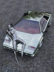 A countach parked on gravel with a metallic man sitting on the hood.