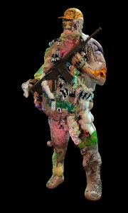 Man in hunting gear covered by colors holing a riffle against a black background.