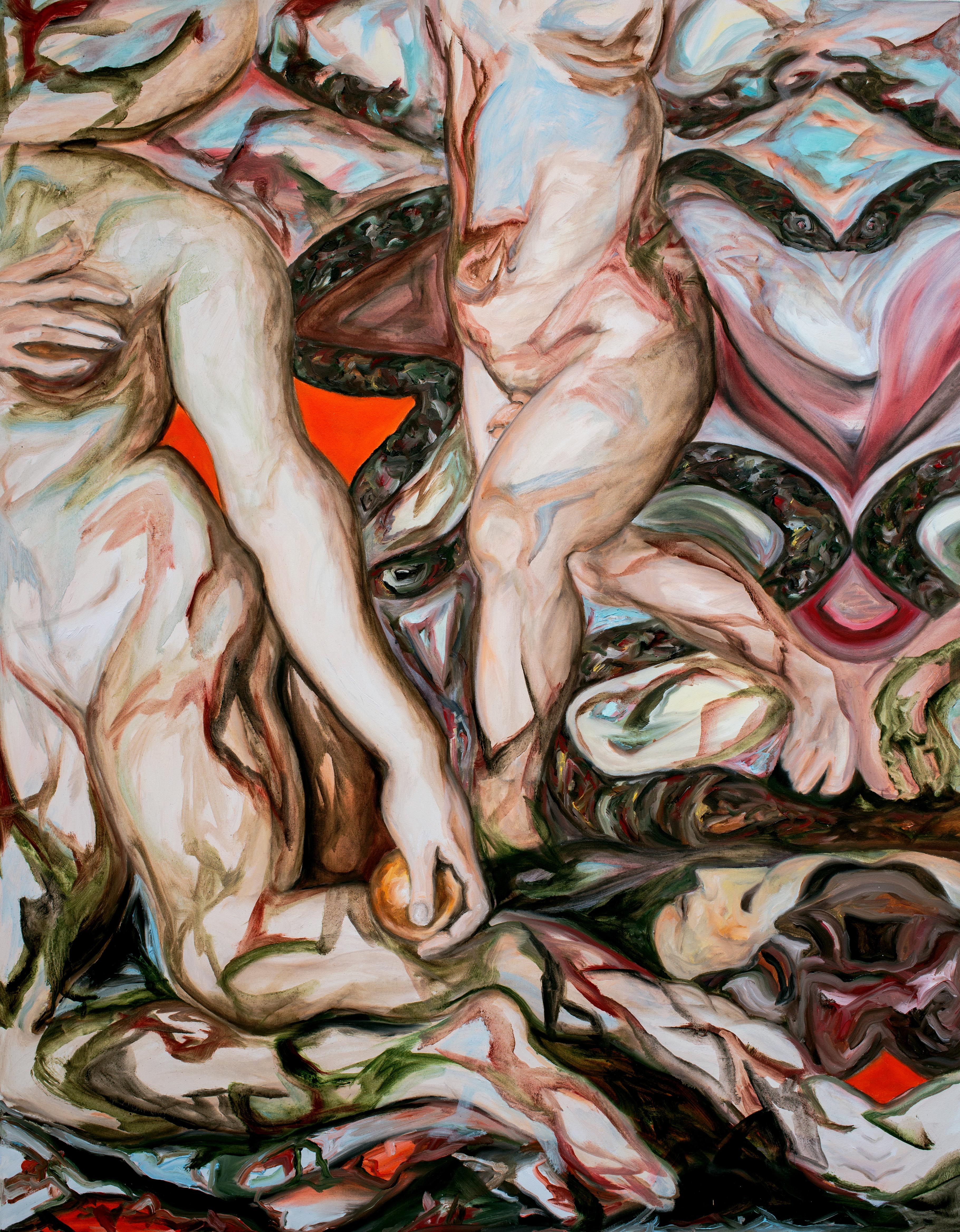 Multiple different naked bodies against a red background.