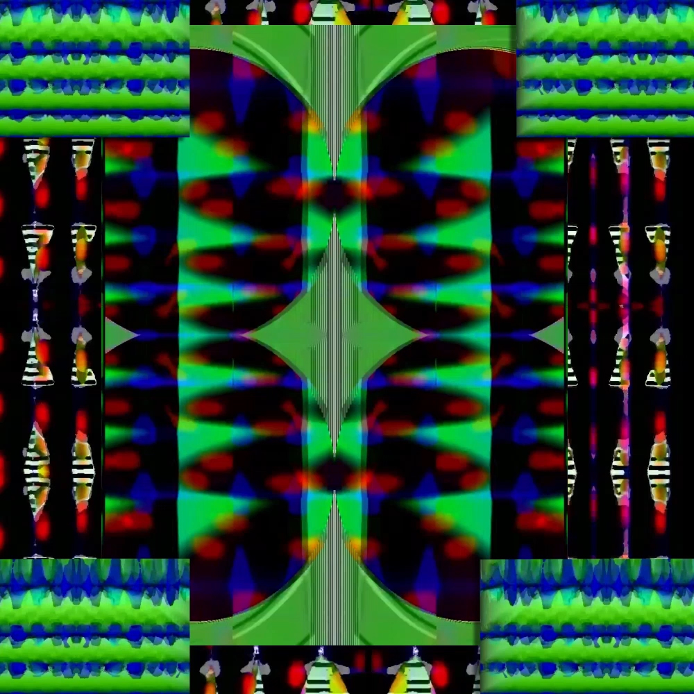 A black screen with a kaleidoscope of green, blue and red, images reflecting each other.
