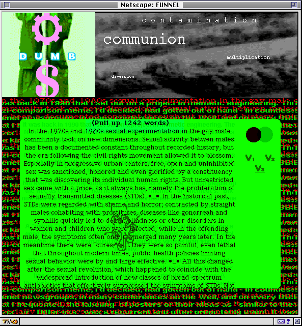 A mid 1990's Macintosh computer display with multiple tabs open. The largest tab is an excerpt relating to gay sex written in a black text over a green background.