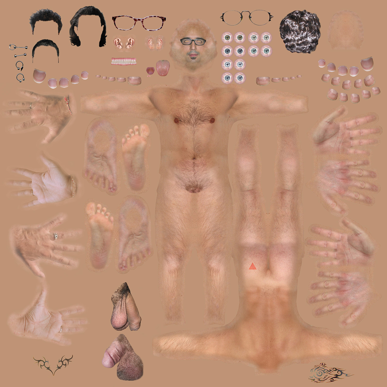 The components of a male body is laid out against a beige background.