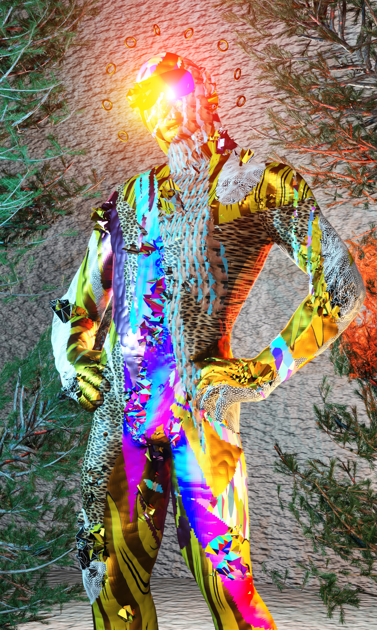 Digital man in a suit made of multiple patterns stands in front of a wall and trees.