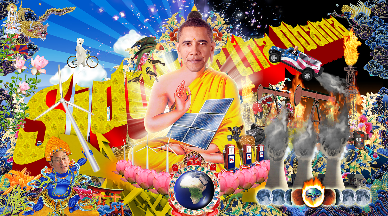 A political collage including an image of Barak Obama's head on the body of Siddhartha Gautama.