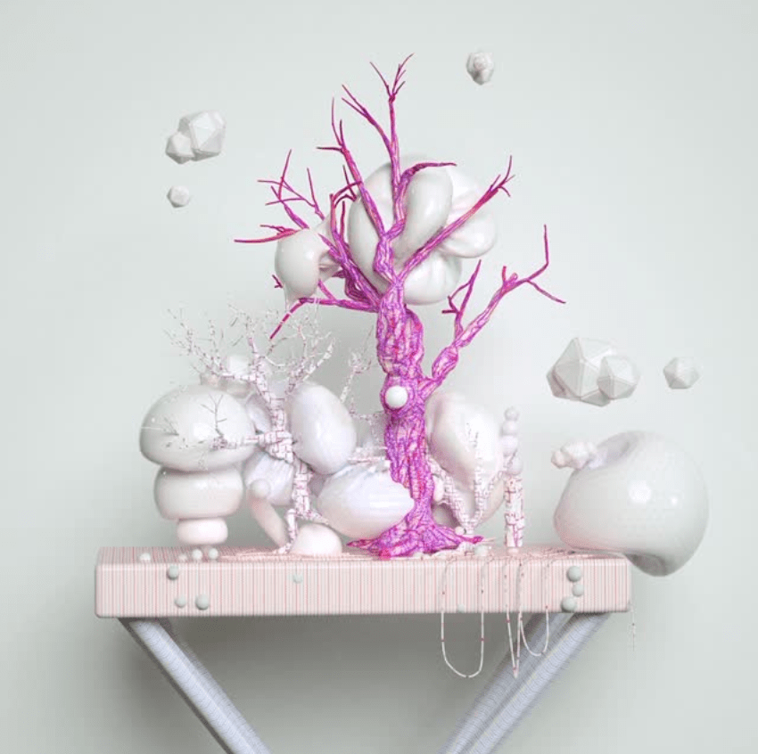 A pink leafless tree atop a pedestal surrounded by floating white shapes.