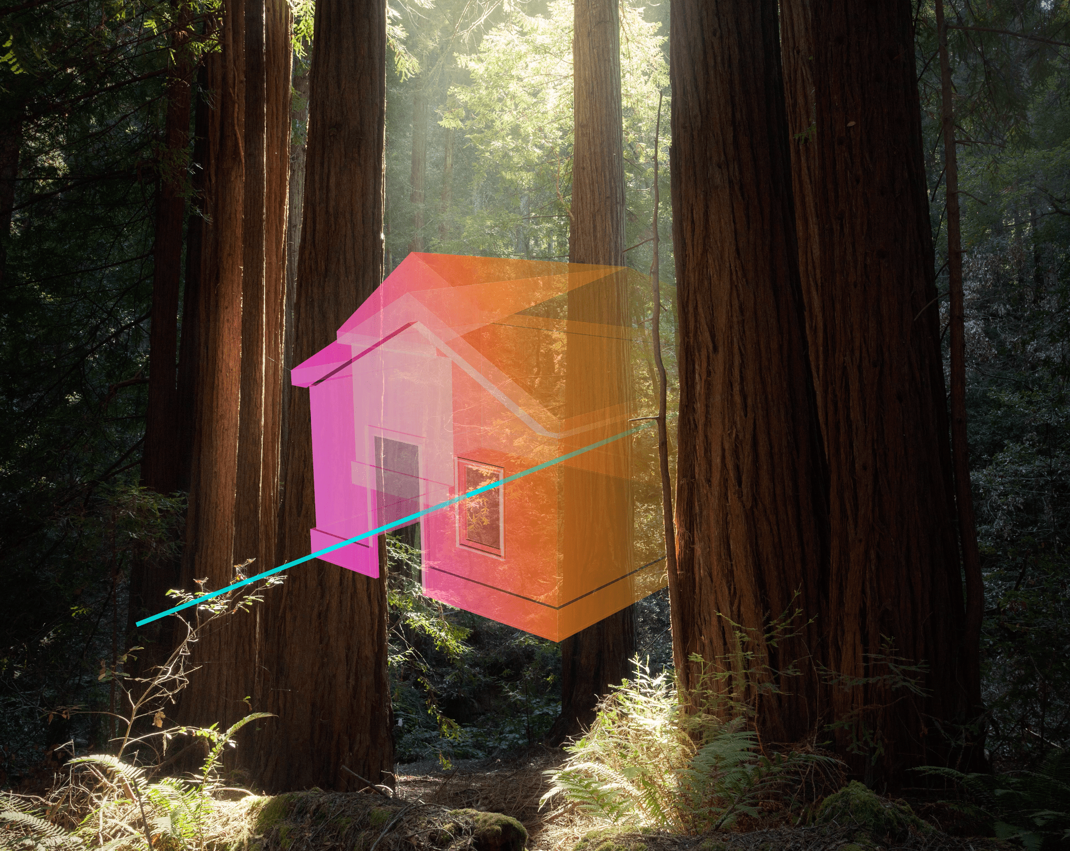 Rainbow holographic house floating in the woods with a blue beam running through the center.