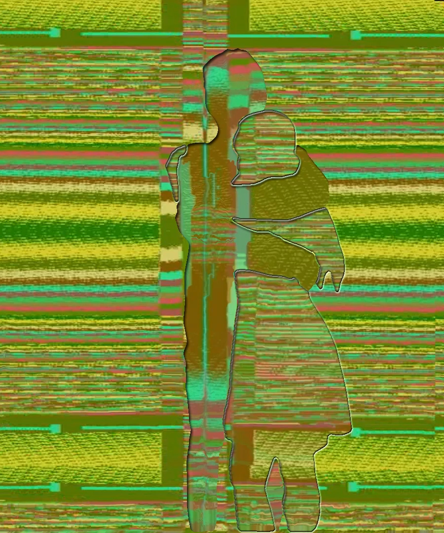 Two colorful outlined figures embrace in front of the same colorful background.