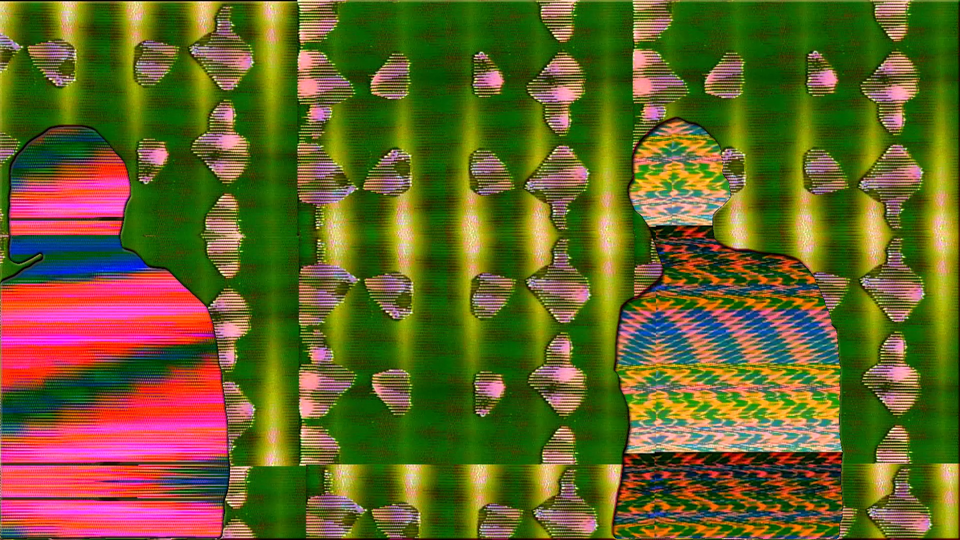 Two colorful and glitchy figures stand in front of a glitching green background.
