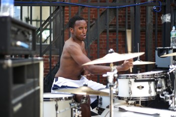 Ethan Henderson, former drummer for Holy Filth, applies his typical gonzo style during Day 2 of the Mathew's Roof Party.