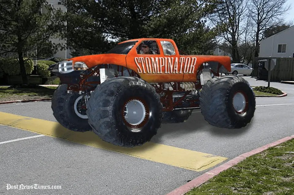 Monster Truck Brought To Standstill By Speed Bumpthe Post News Times The Post News Times