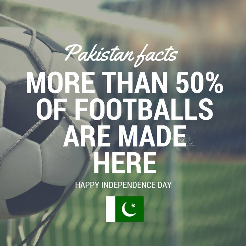 Pakistan Facts: 6 out of every 10 footballs are manufactured in Sialkot, Pakistan.