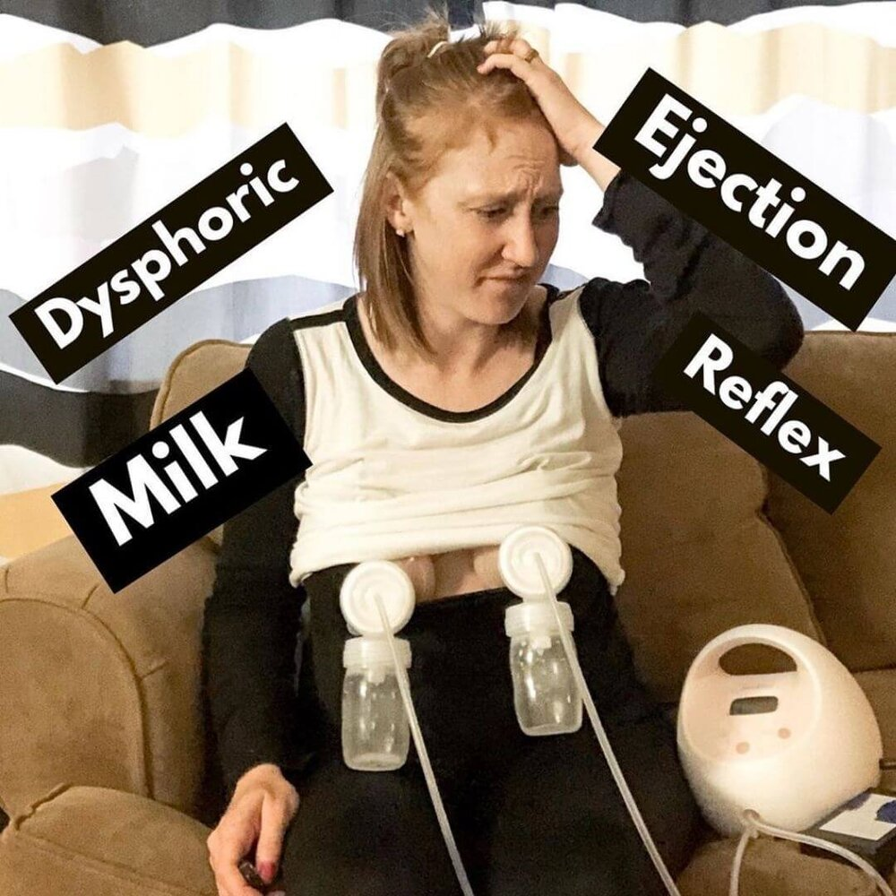 woman breast pumping and feeling anxious from DMER