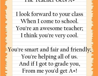 Teacher Appreciation Poems