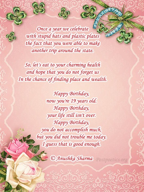 funny sister birthday poems