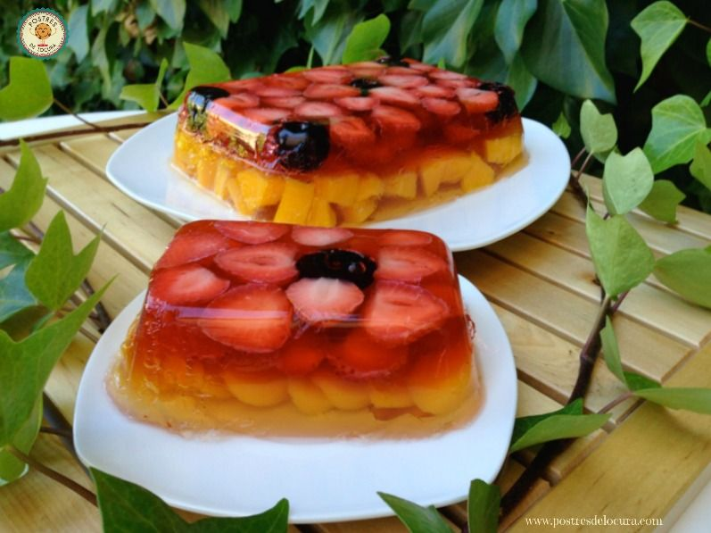 Gelatina de fresas y melocoton