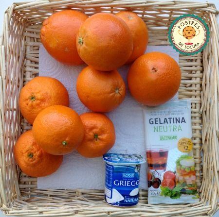 Ingredientes gelatina con zumo natural de naranja y mandarina