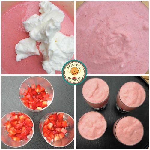 Preparacion Mousse de fresas y yogur