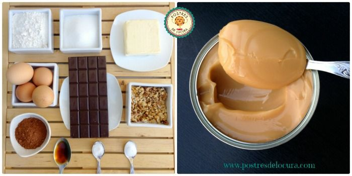 Ingredientes brownies con dulce de leche