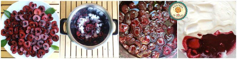 preparacion mousse de cerezas