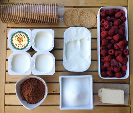 Ingredientes cheesecase helado de frambuesas