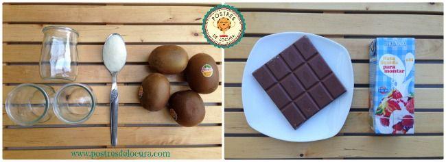 Ingredientes Frankestein de kiwi y chocolate