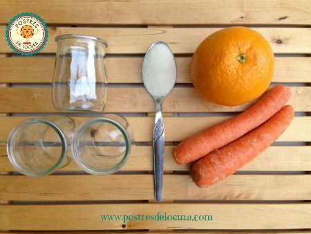 Ingredientes calabazas de gelatina de naranja y zanahoria