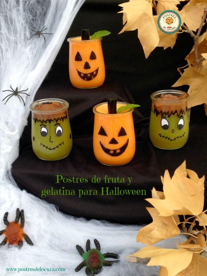 Postres de fruta y gelatina para Halloween