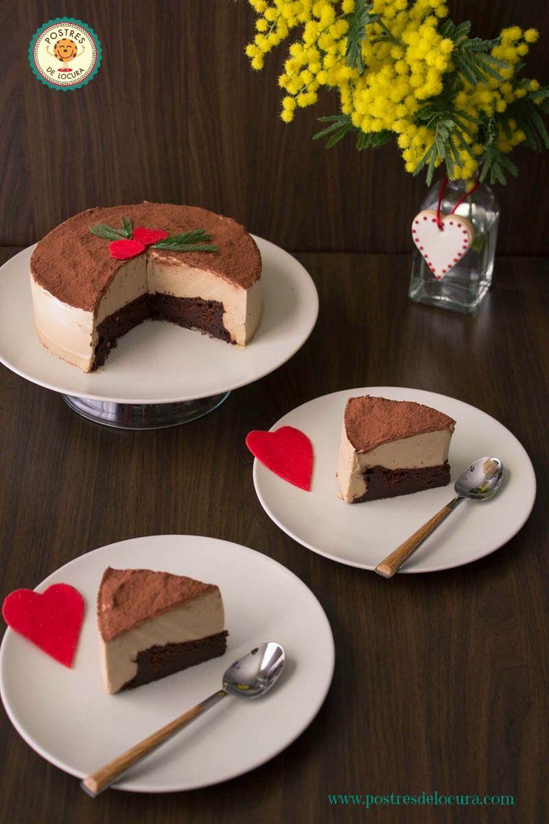 Mousse de cafe y bizcocho de chocolate