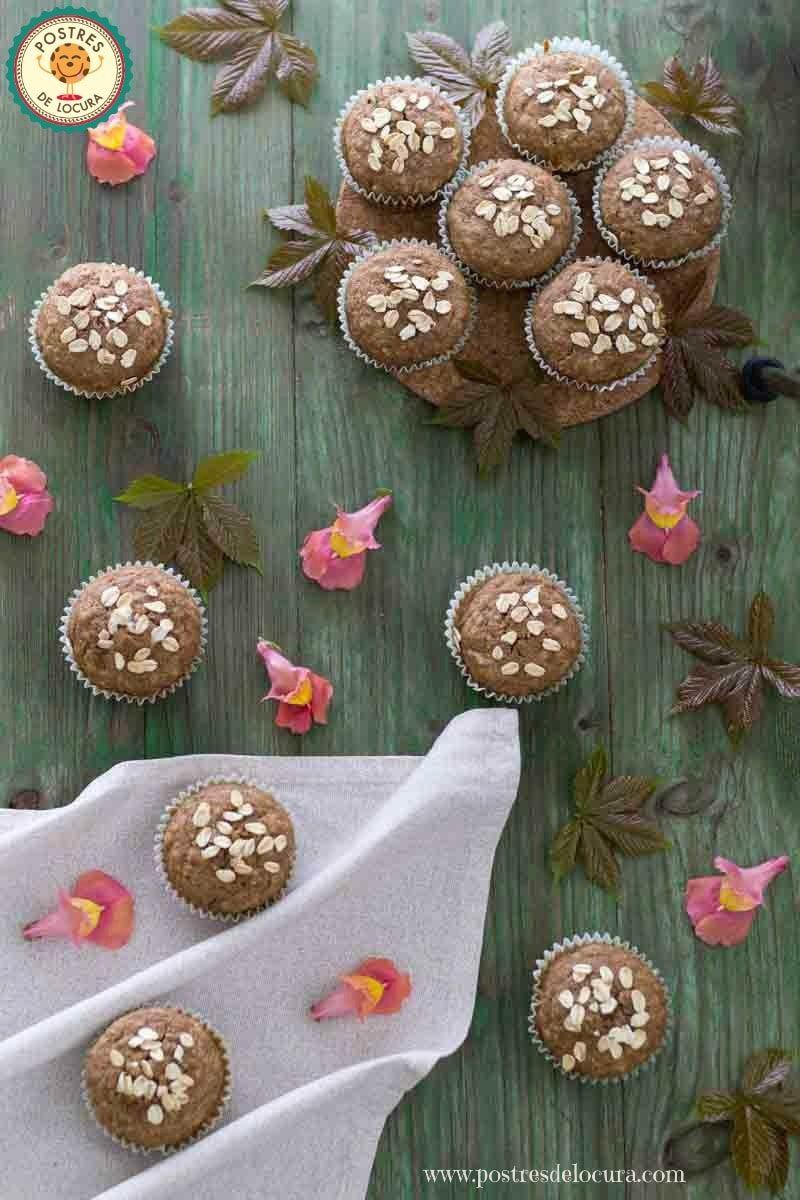 Muffins de calabacin y manzana con copos de avena