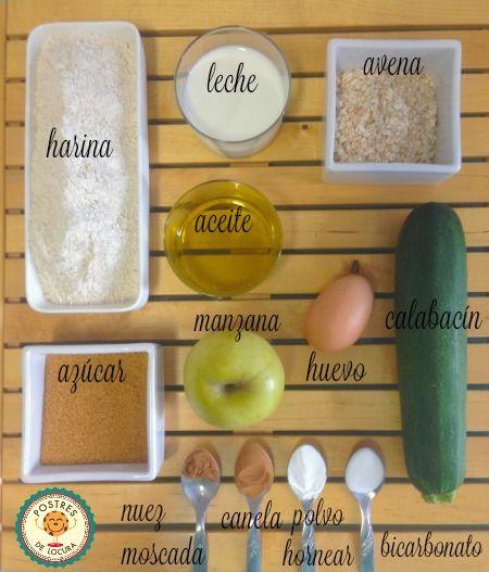 Ingredientes muffins calabacin y manzana
