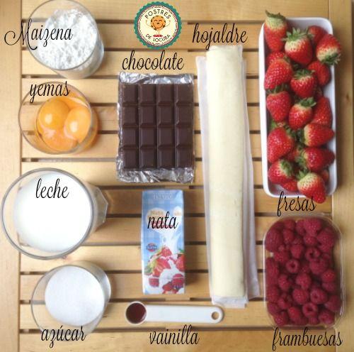 Ingredientes milhojas de chocolate y frutos rojos