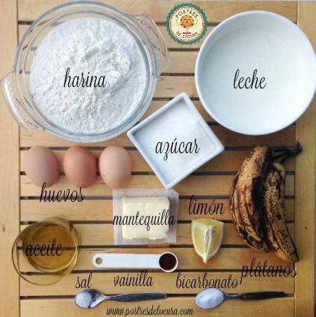 Ingredientes bizcocho de platano con cobertura de queso crema