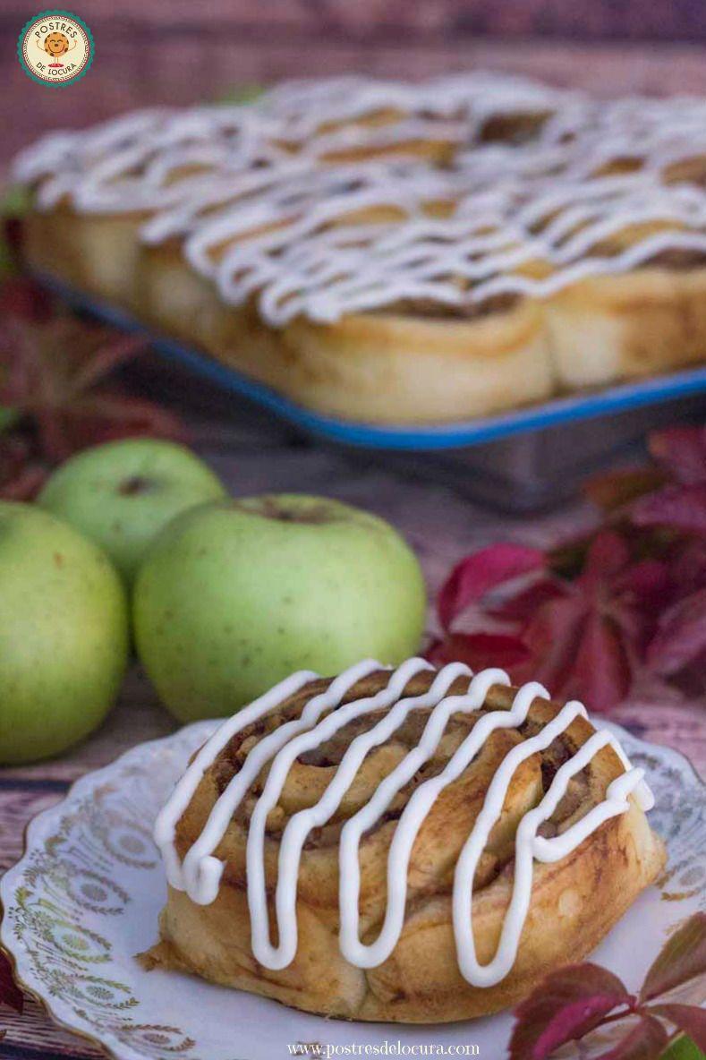 Rollos de manzana y canela con cobertura de queso crema