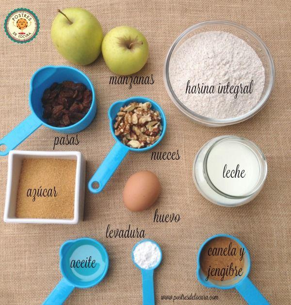 Ingredientes muffins de manzana, pasas y nueces