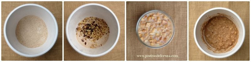Preparacion muffins de manzana, pasas y nueces