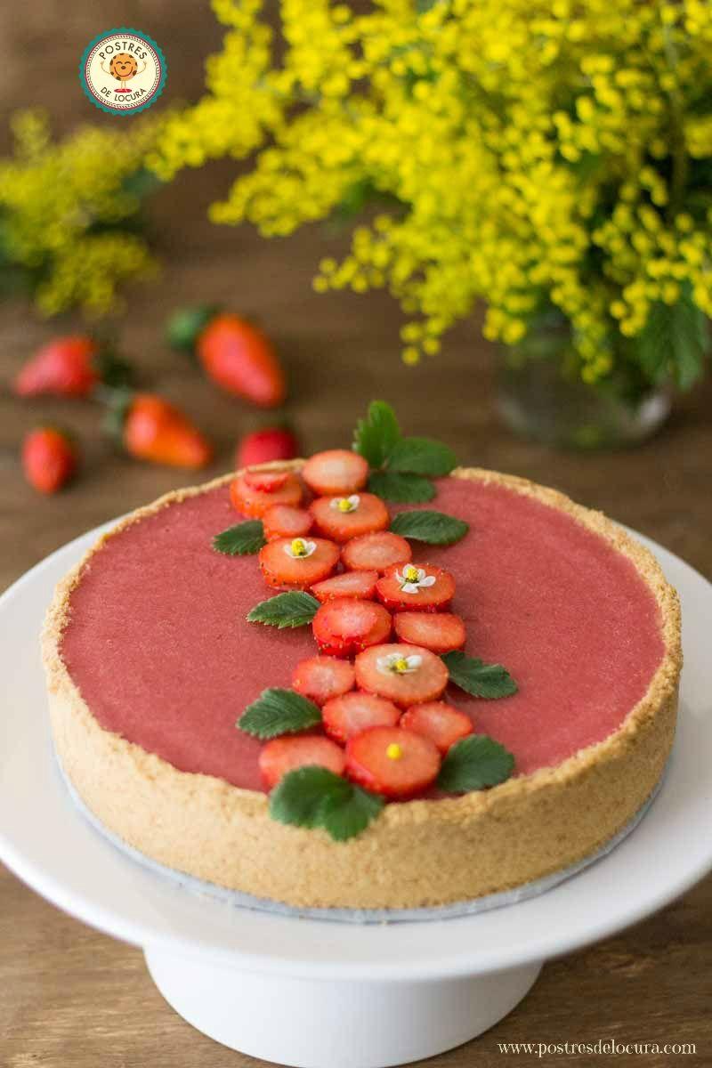 Tarta de panna cotta y fresas (Tarta sin horno para San Valentin)