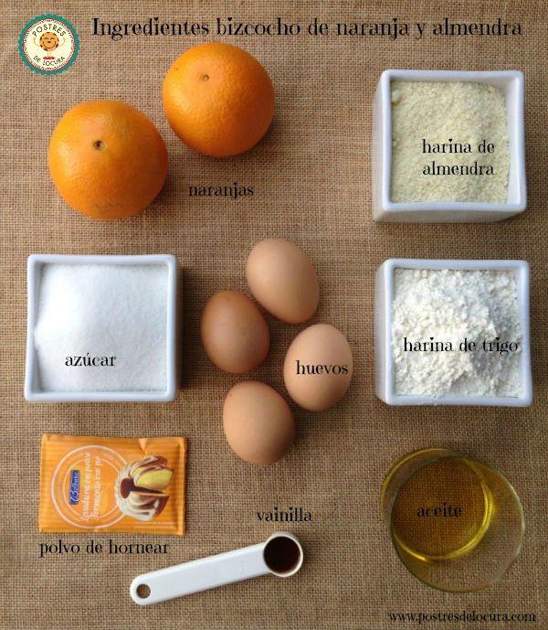 Ingredientes Bizcocho de naranja y almendra