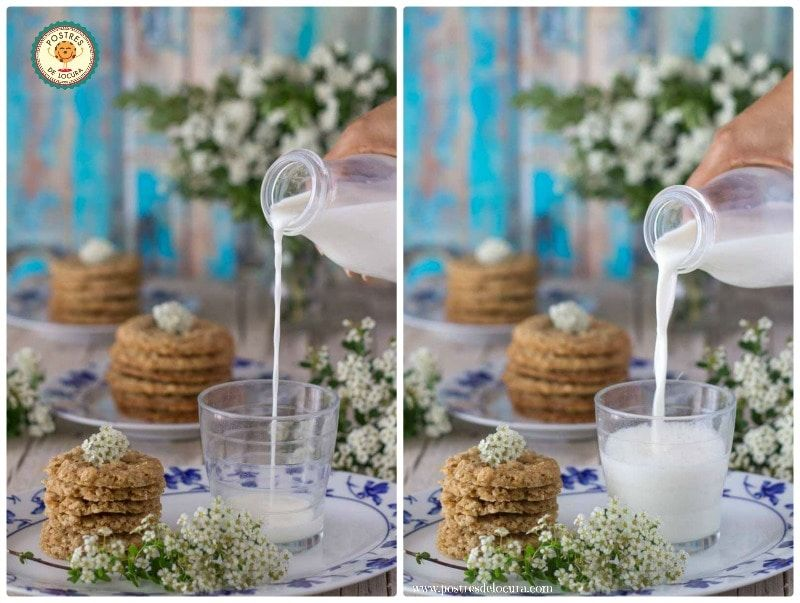 Desayuno con galletas de avena finas y crujientes