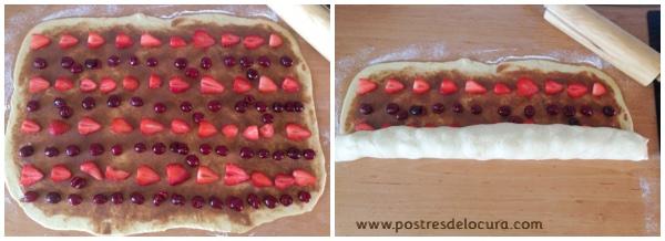 Preparacion pan de leche condensada y fruta 6
