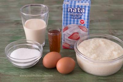 Ingredientes Helado casero de arroz con leche