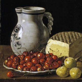 Bodegón con plato de cerezas, ciruelas, jarra y queso – Meléndez