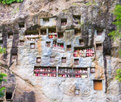Man-made caves, or liang, in the side of a cliff