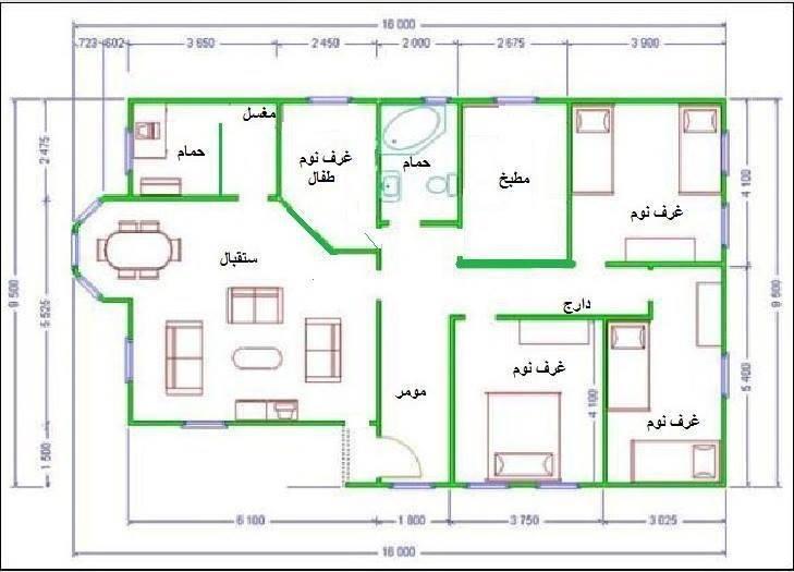 تصميم منزل 150 متر واجهة واحدة مساحة 150 متر تبني عليها اجمل
