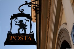Post office's sign - Glavni trg / Szyld poczty na Glavni trg