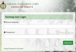 login into nysc portal