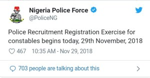 Nigerian police recruitment Constable 2019/2020