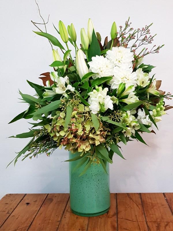 White floral vase arrangement Posy & Twine Florist